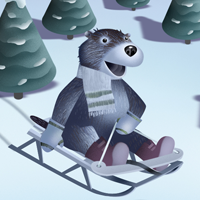 A Groundhog Wakes Up in winter to go sledding.