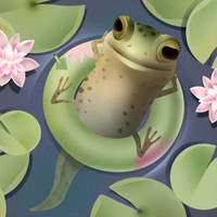 Pollywog relaxes on a lilypad and thinks he's a bullfrog.