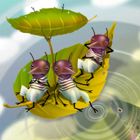 Three ants go sailing through clouds in the pond-water sky.